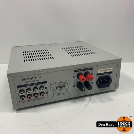 Stereo versterker - SkyTronic hifi versterker 2x 200W met 4 ingangen en 3-bands toonregeling - Zilver