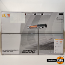 Sunred staande terrasverwarmer Royal Diamond Silver 2000 watt