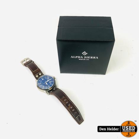Alpha Sierra Automatic AM2 | Herenhorloge | Leer | Zwart | Ø 46.5 mm | Nieuw