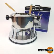 Fondue-Set 10-delig (Pan, Deksel, Rechaud, Brander & 6 Vorken) - Nieuw