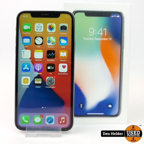 Apple iPhone X 256GB Silver Accu 100% - In Nette Staat