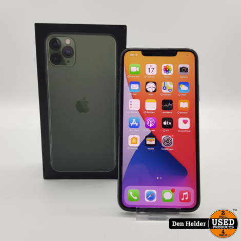 Apple iPhone 11 Pro Max 64GB Accu 100% Midnight Green - In Nette Staat