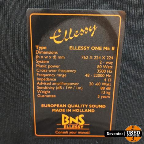 BNS Ellessey One MK 2 vloespeakers 2 weg 80 watt
