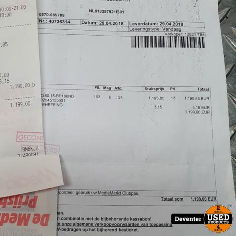 HP ENVY x360 - 2 in 1- intel i7 - bon 2018 twv € 1199.00