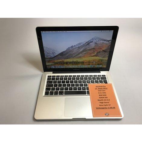 Apple MacBook Pro 13 inch Begin 2011   Accu Cycli: 57   Intel i5 2.3GHz   8GB RAM   250GB SSD   MacOS High Sierra 10.13.6   met garantie