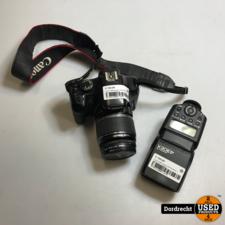 Canon 450D camera met 18-55mm + Hama lens en flitser | Met garantie