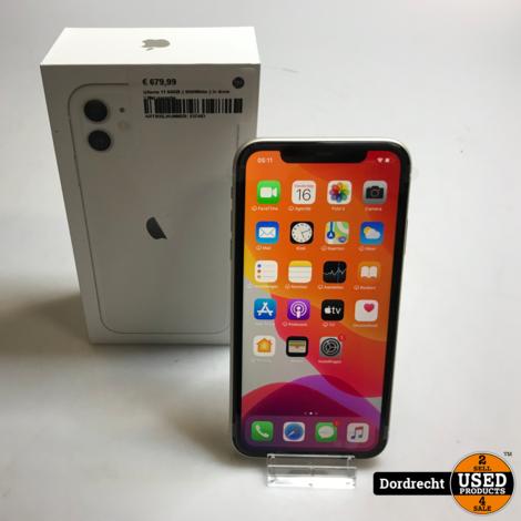 Iphone 11 64GB    Wit/White    In doos    Met bon en Apple garantie