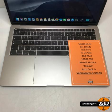 MacBook Air 13-inch 2018 | Accu Cycli: 9 | Intel 1.6GHz | 8GB RAM | 128GB SSD | MacOS 10.14.6 Mojave | Met garantie