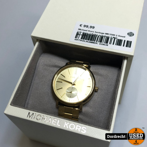 Michael Kors MK3500 horloge goud | In doos | Extra schakels | Met garantie
