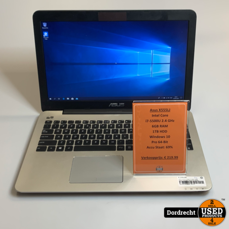 Asus X555LJ laptop | Intel 2.4 GHz | 6GB RAM | 1TB HDD | Win10 Pro 64-Bit | Met garantie