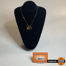 18 Karaat Gouden ketting met twee hangers 14 gram 45 cm    Met garantie