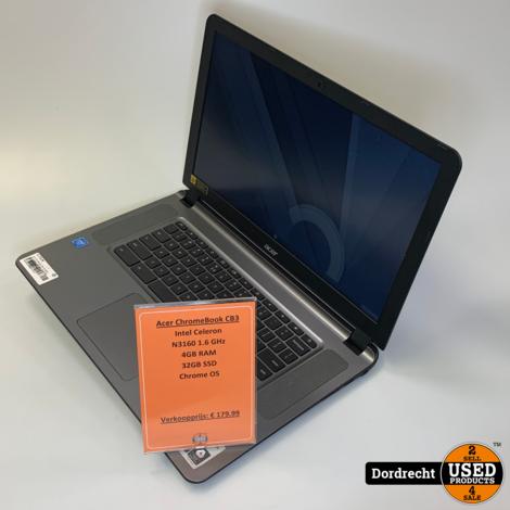 Acer Chromebook CB3-532-C8E0 | Intel 1.6GHz | 4GB RAM | 32GB SSD | Chrome OS | Met garantie