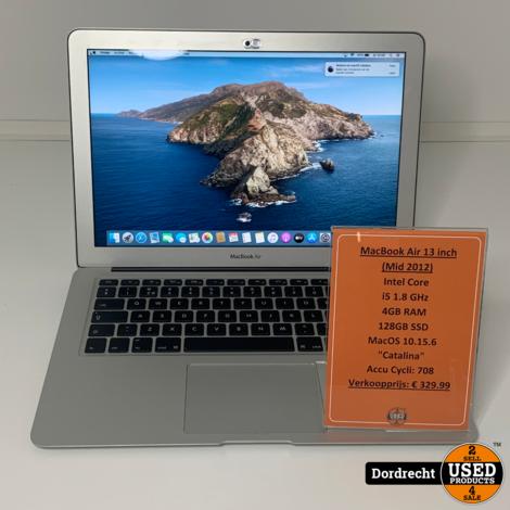 Macbook Air 13 inch Mid 2012   Accu Cycli: 708   Intel 1.8GHz   4GB RAM   128GB SSD   MacOS 10.15.6 Catalina   Met garantie