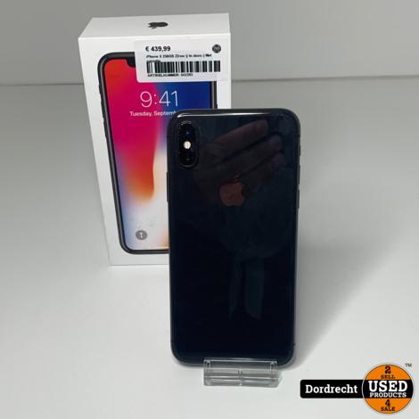 iPhone X 256GB Space grey    In doos    Met garantie