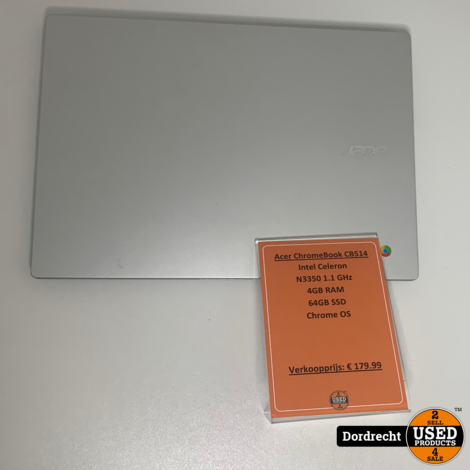 Acer ChromeBook CB514-1H-C8PA | Intel 1.1 GHz | 4GB RAM | 64GB SSD | Chrome OS | Met garantie