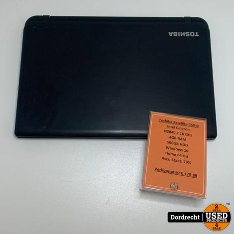 Toshiba Satellite C50-B Laptop | Intel 2.16 GHz | 4GB RAM | 500GB HDD | Win10 Home 64-Bit | Met garantie