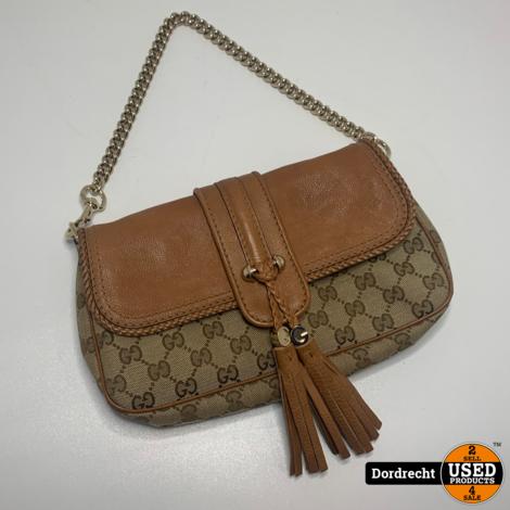 Gucci Monogram Small Marrakech Chain Bag Brown Handtas || Met garantie