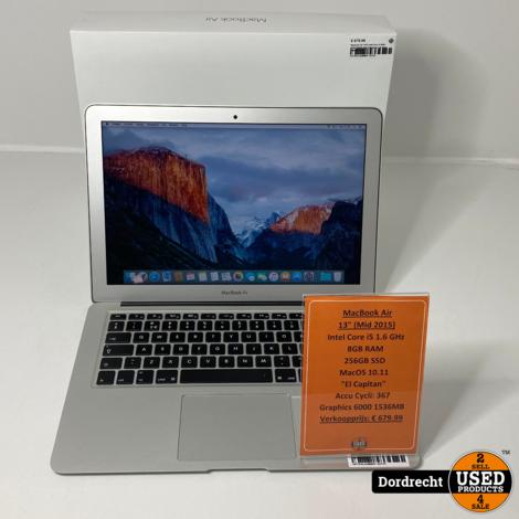 Macbook Air 2015 Intel Core i5 8GB RAM 256GB SSD Videokaart   In doos   Met garantie