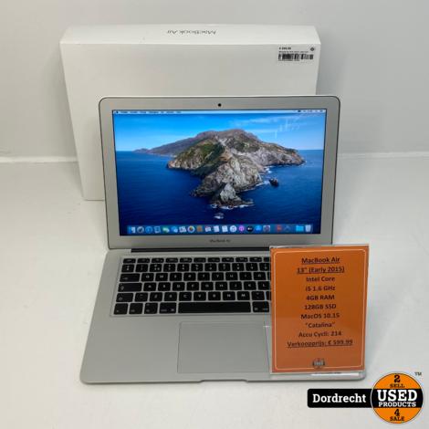 Macbook Air 2015 13Inch | Intel Core i5 128GB SSD 4GB RAM | In doos | Met garantie