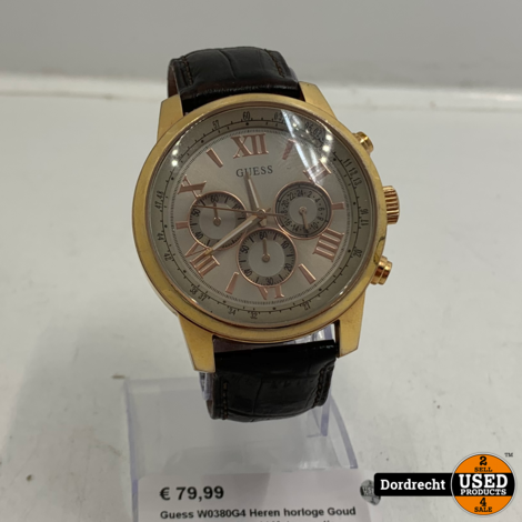 Guess W0380G4 Heren horloge Goud | Bruine leren band | Met garantie
