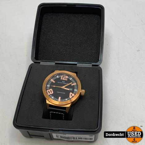Marc Coblen Horloge   Zwarte band   NIEUW in doos   Met extra ring   Met garantie