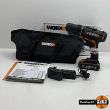 Worx schroef- en klopboormachine WX371.3 20V | Met accu, lader doos en tas | Met garantie