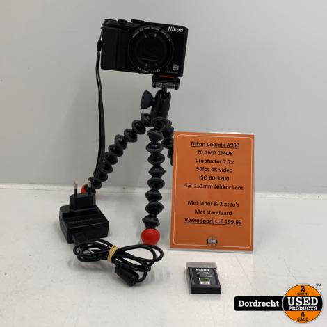 Nikon Coolpix A900 camera   Zwart   Met standaard   Met garantie