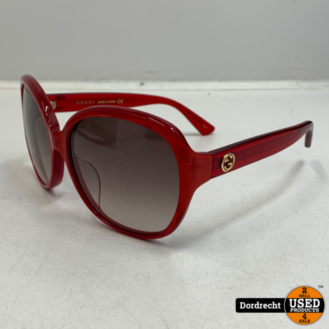 Gucci GG0080SK 004 Zonnebril Rood | In hoes | Met tas | Met garantie