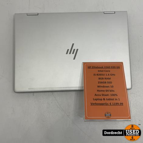HP Elitebook X360 830 G6 laptop | Intel Core i5 256GB SSD 8GB RAM Windows 10 | Met garantie