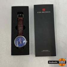 Carl Heinrich Triple Calendar G3108 SBU-TRC horloge 42 mm | In doos | Batterij leeg | Met garantie