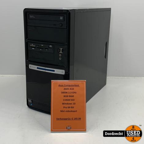 Asus Computerkast AMD A10-5800K 110GB SSD 8GB RAM Windows 10 Pro | Met garantie