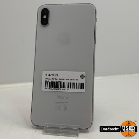 iPhone XS Max 64GB Zilver | Face ID Stuk | Met garantie