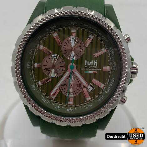Tutti Milano Horloge TM005 | Leger Groen | 48mm | NIEUW in doos | Batterij leeg | Met garantie