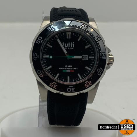 Tutti Milano Horloge TM900   Zwart   42.5mm   NIEUW in doos   Batterij leeg   Met garantie