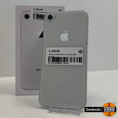 iPhone 8 64GB Zilver   In doos   Met garantie