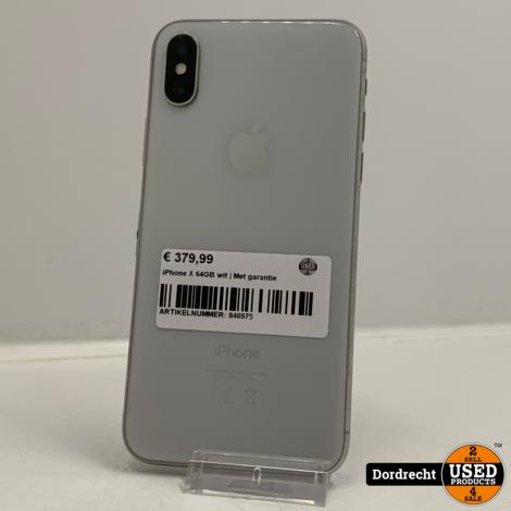 iPhone X 64GB Wit | Lichte schade op camera | Met garantie