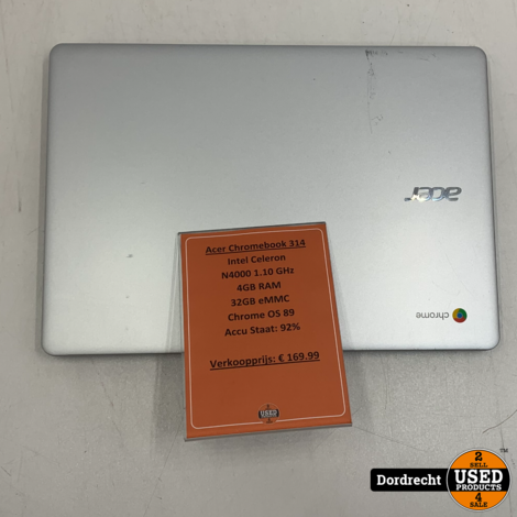 Acer Chromebook 314   Intel Celeron N4000 1.10 GHz   4GB RAM   32GB eMMC   Chrome OS 89   In doos   Met garantie