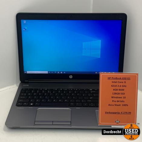 HP ProBook 650 G1 laptop | Intel Core i5-4210 128GB SSD 4GB RAM Windows 10 Pro | Met garantie