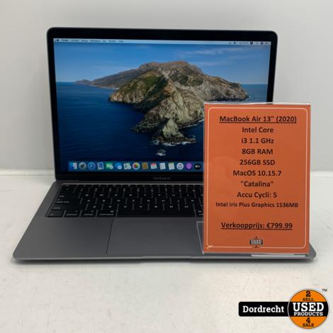Macbook Air 2020 | Intel Core i3 256GB SSD 8GB RAM Intel Graphics 1536MB | Met garantie