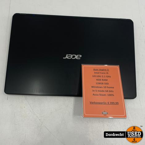 Acer Aspire 3 A35 laptop | Intel Core i3-10110 128GB SSD 4GB RAM Windows 10 | Met garantie