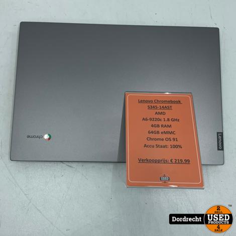 Lenovo Chromebook S345-14AST Chromebook | AMD A6-922c 1.8GHz 4GB RAM 64GB eMMC | Met garantie