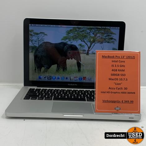 Macbook Pro 2012 13inch | Intel Core i5 4GB RAM 500GB SSD Intel HD Graphics 4000 384MB | Met garantie