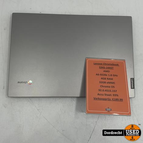 Lenovo Chromebook S345-14AST   AMD A6-9220c 1.8 GHz 4GB RAM 32GB eMMC   Met garantie