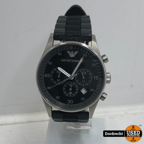 Emporio Armani AR5866 horloge Zilver / Zwart | Batterij leeg | Met garantie