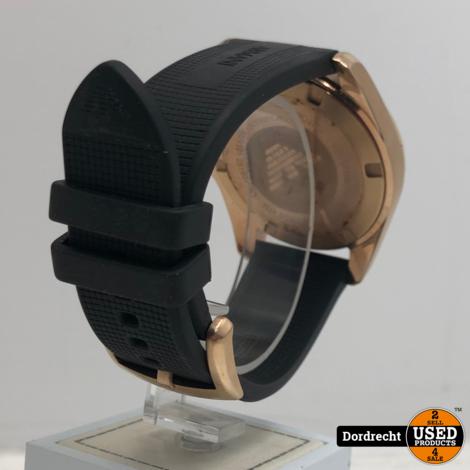 Emporio Armani AR11101 Sigma Horloge Rose Goud / Zwart   Batterij leeg   Met garantie