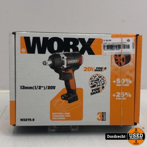 Worx Accu slagmoersleutel WX279.9 20V koolborstelloos   Nieuw in doos   Losse body   Met garantie