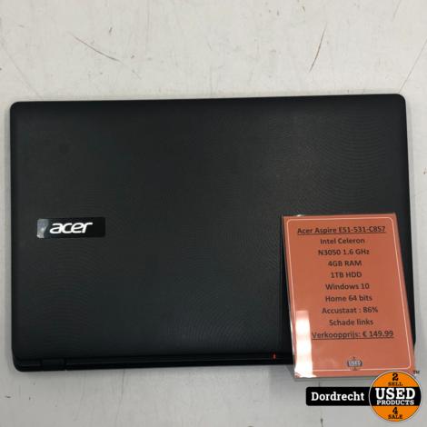Acer Aspire ES1-531-C8S7 laptop | Intel celeron N3050 1TB HDD 4GB RAM Windows 10 | Met garantie