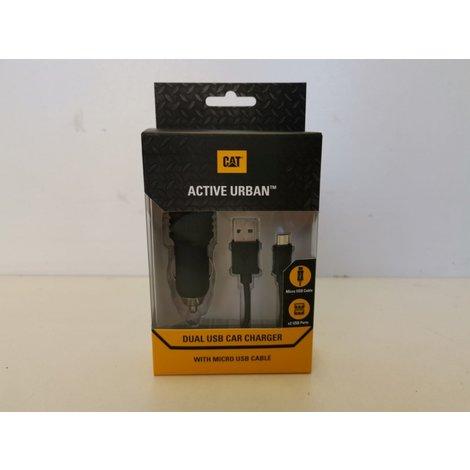 Cat Autolader set micro USB Dual USB zwart   NIEUW IN SEAL