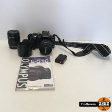 Olympus E-510 Camera + 14-42mm lens + 40-150mm lens + Accessoires | Met garantie