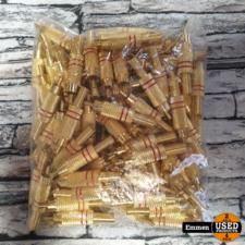 100 Stuks RCA Male - Cinch Verguld Rood